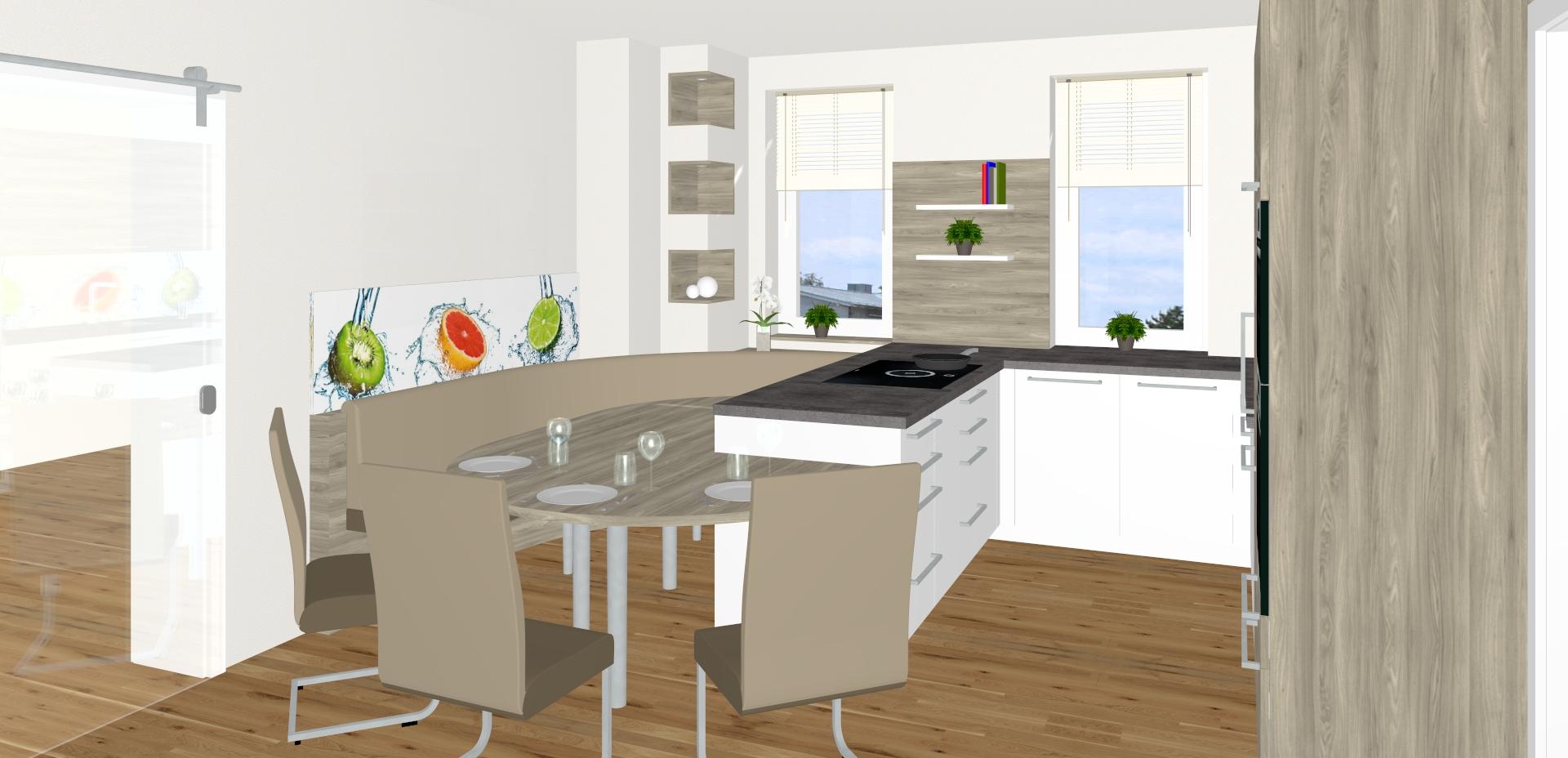 Küche mit ovalem Anbautisch in Pasching
