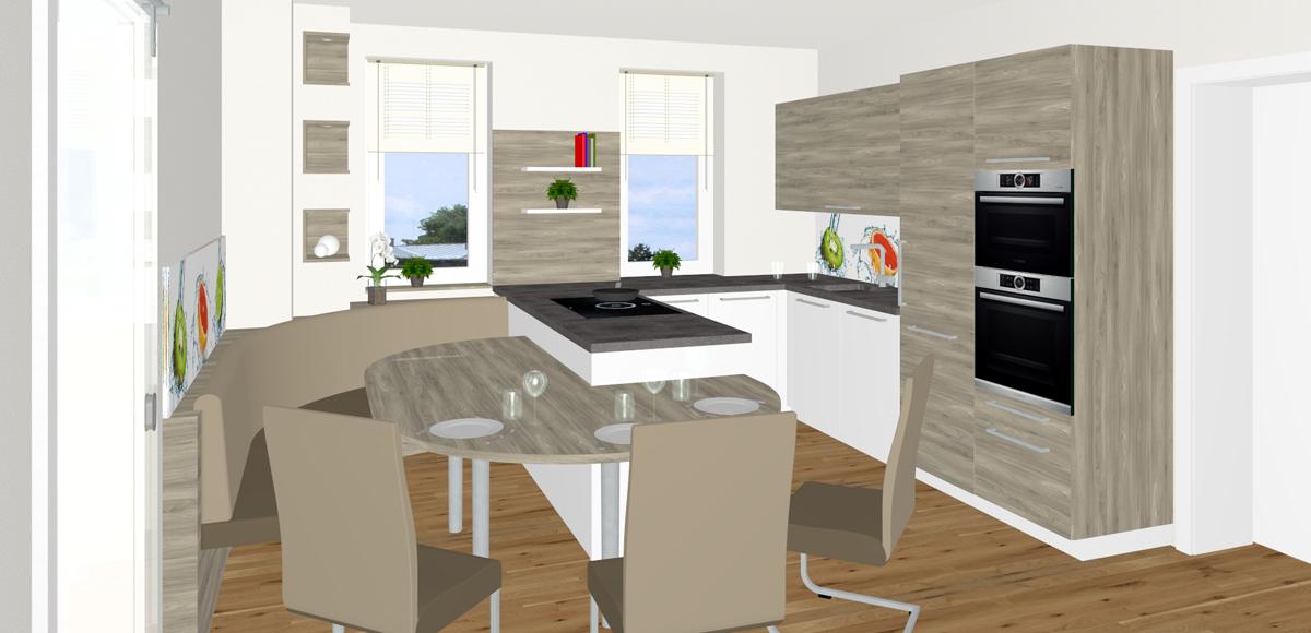 Küche mit ovalem Anbautisch in Pasching | Tischlerei Kastner