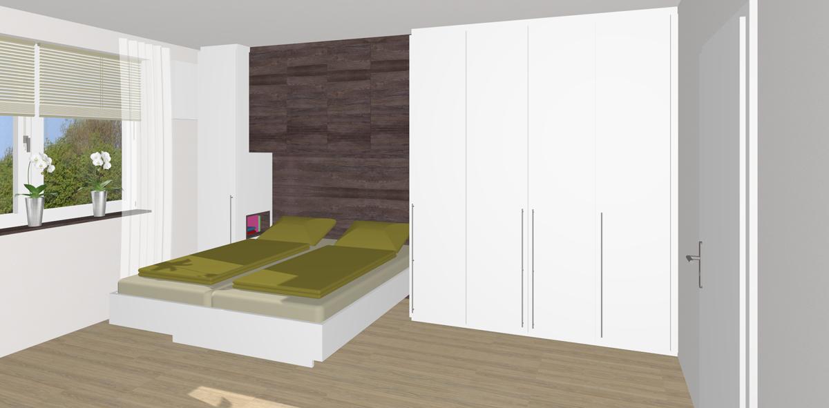 Schlafzimmer mit Stauraum-Lösung in Linz