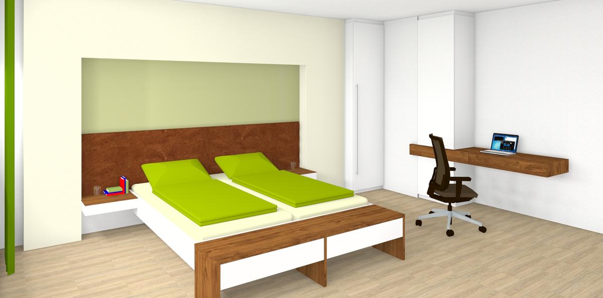 Schlafzimmer mit Heimbüro in Linz