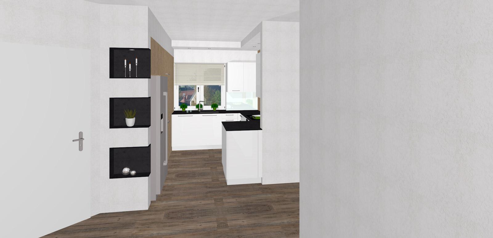 kompakte k che mit versteckter speist r und integriertem ami k hlschrank in bad zell. Black Bedroom Furniture Sets. Home Design Ideas
