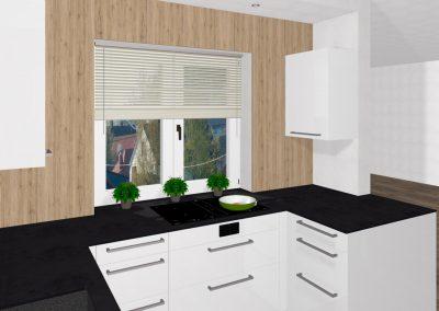 Kompakte Küche mit versteckter Speistür und integriertem Ami-Kühlschrank in Bad Zell