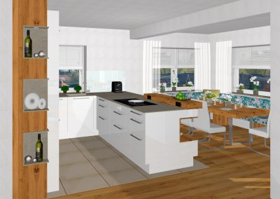 Offene Wohnküche mit versteckter Speistür in Kirchdorf an der Krems