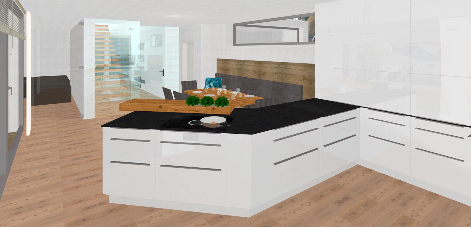 architektonische k che in sch nau im m hlkreis tischlerei kastner. Black Bedroom Furniture Sets. Home Design Ideas