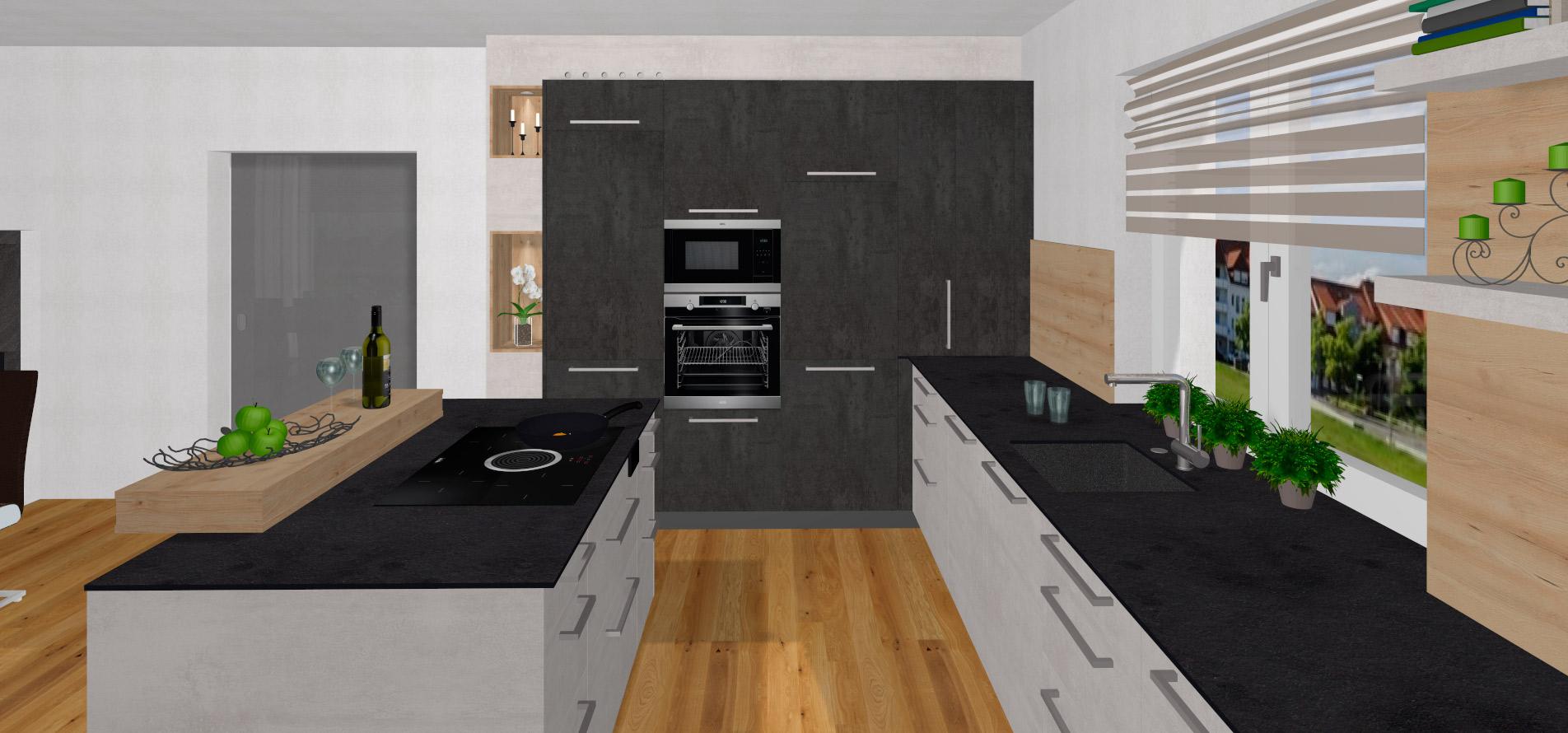 L-Küche mit freistehender Insel in Ried in der Riedmark ...