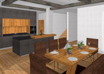 Echtbeton-Küche mit Tramdecke in Schwertberg